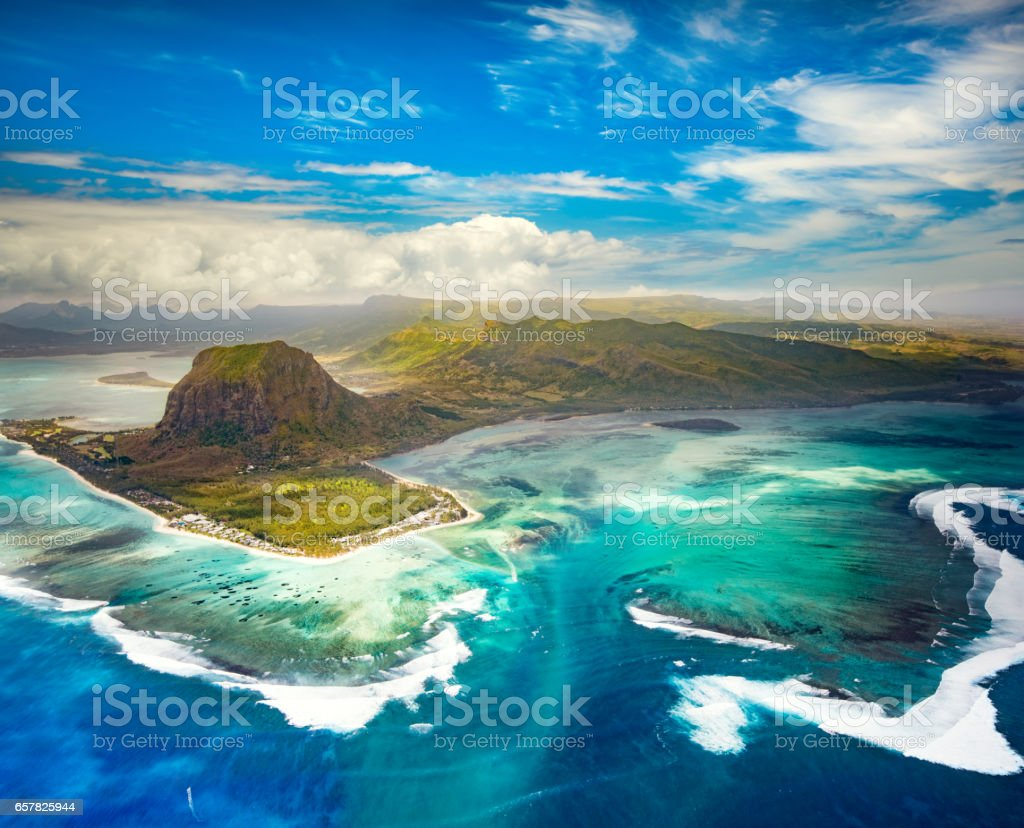 Aerial view of the underwater waterfall. Mauritius stock photo