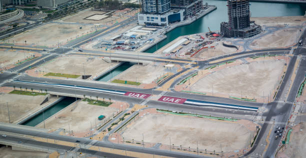 aerial view of the united arab emirates flags painted on the streets - uae national day стоковые фото и изображения