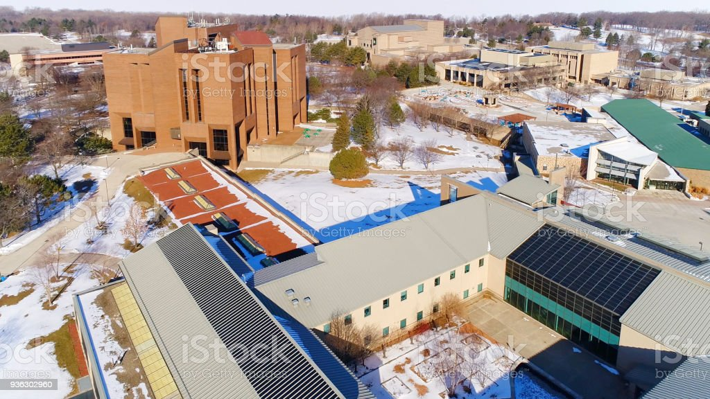 Aerial View of the University of Wisconsin Green Bay Campus stock photo