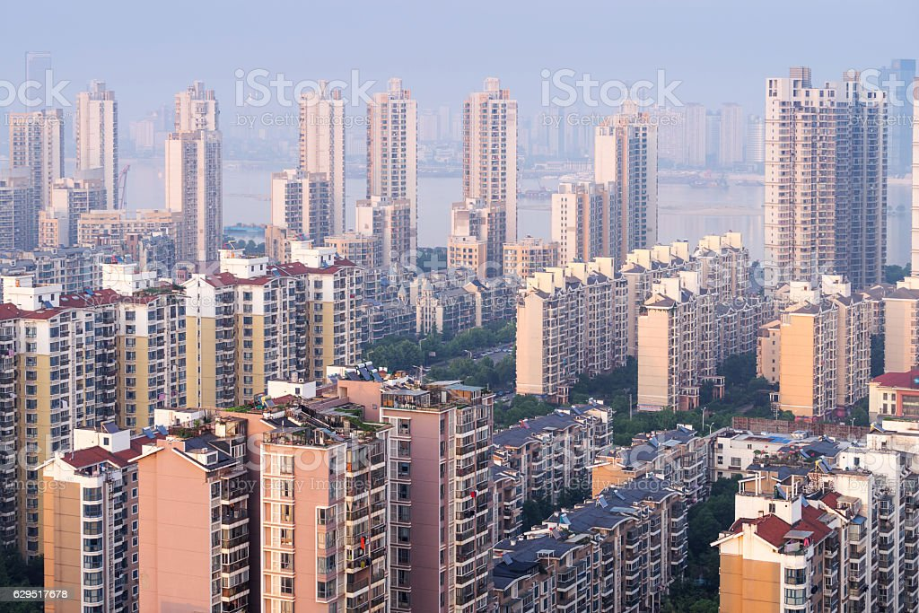 Aerial view of the urban landscape, aerial filming urban residen stock photo