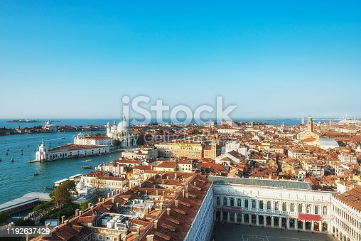 Aerial view of the Venice. Cathedral of Santa Maria Salute and San Marco square view from St Mark's Campanile bell tower in Venice, Italy, located in the Piazza San Marco.