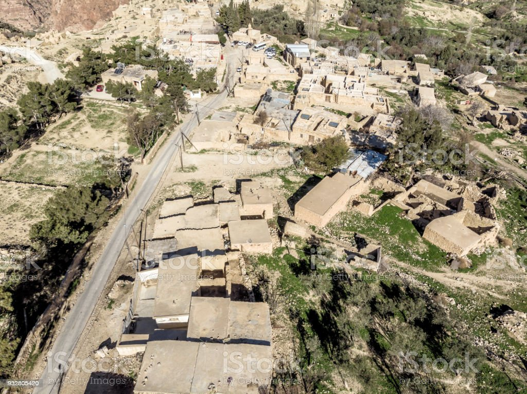 Aerial view of the village Dana and its surroundings at the edge of the Biosphere Reserve of Dana in Jordan stock photo