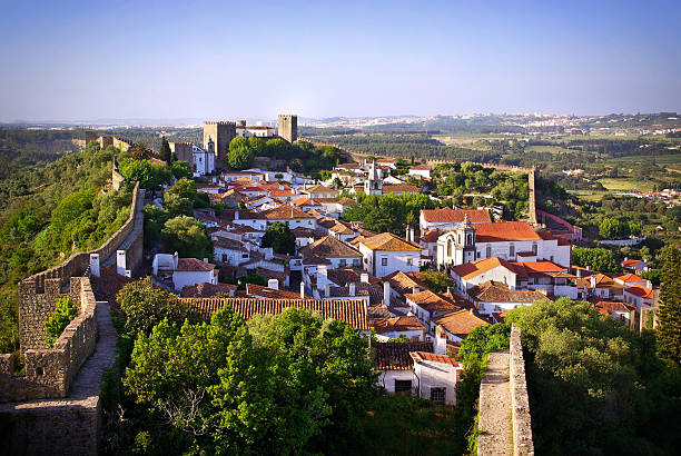 Aerial view of the village of Obidos in Portugal stock photo