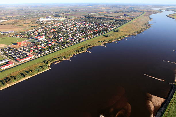 Aerial view of the Vistula river and Tczew city stock photo
