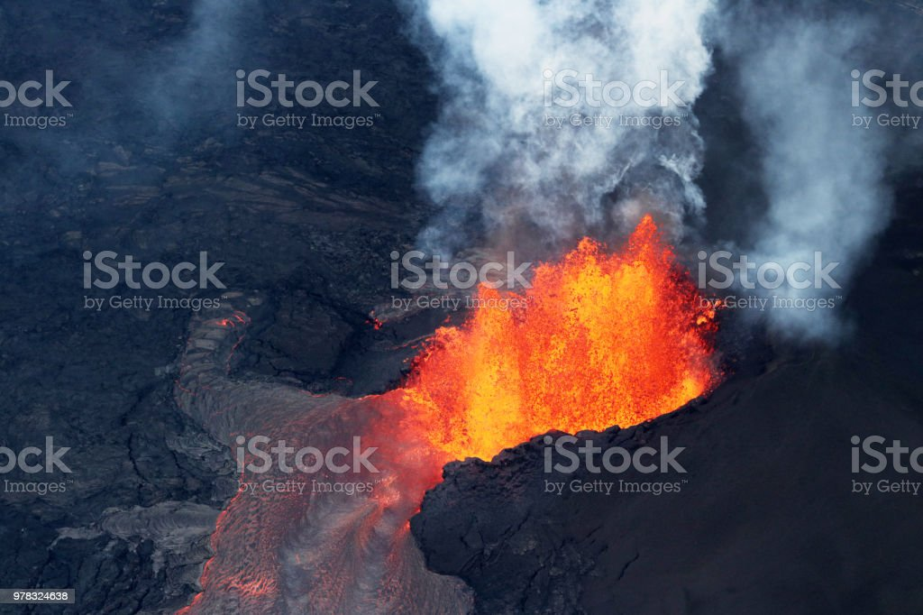 Aerial view of the volcanic eruption of volcano Kilauea, Fissure 8, May 2018 stock photo