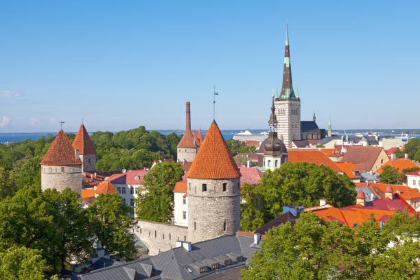 Aerial view of the Wall of Tallinn & St Olaf's church stock photo