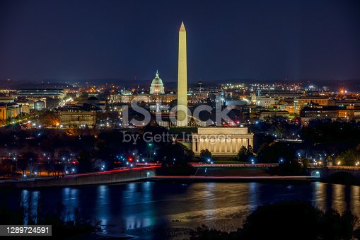 istock Aerial View of the Washington DC at night 1289724591