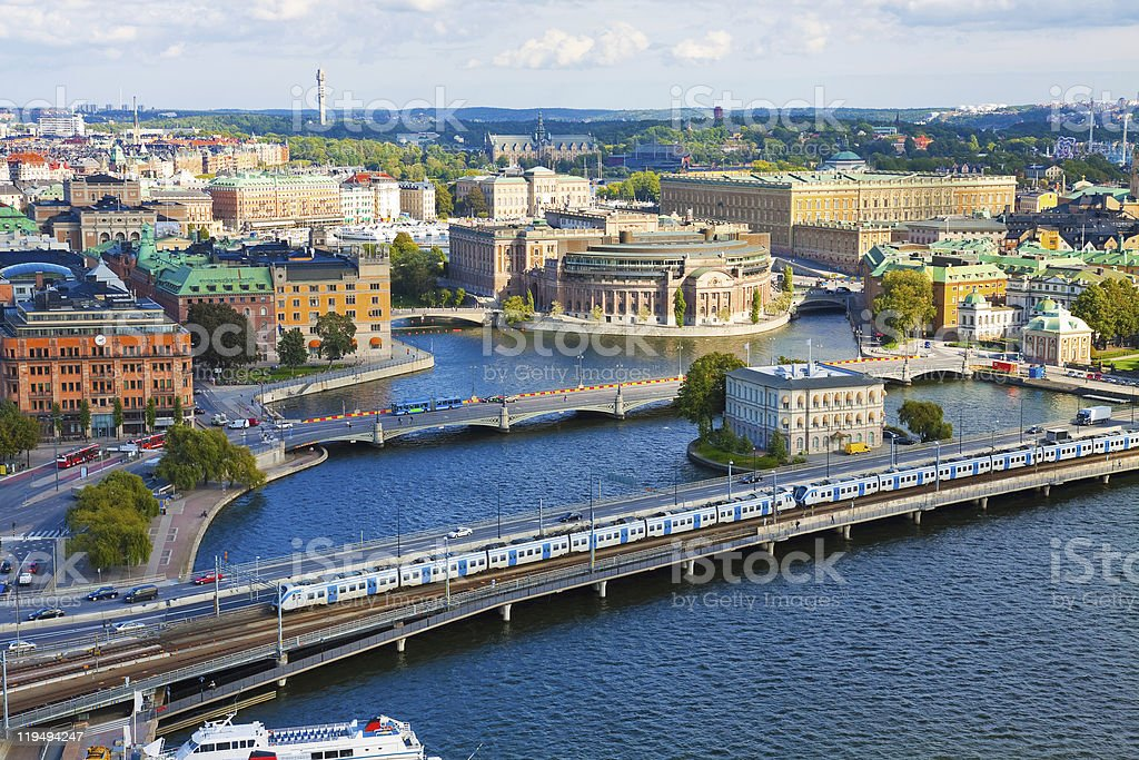 Aerial view of the water and city of Stockholm in Sweden royalty-free stock photo
