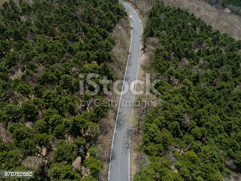 820775686 istock photo Aerial view of the way in forest 970752552