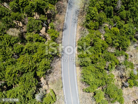820775686 istock photo Aerial view of the way in forest 970752556