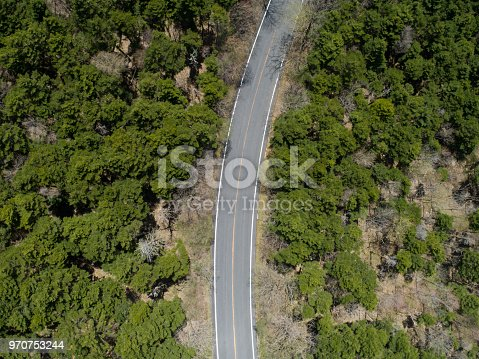 820775686 istock photo Aerial view of the way in forest 970753244