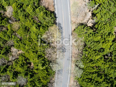 820775686 istock photo Aerial view of the way in forest 970758952
