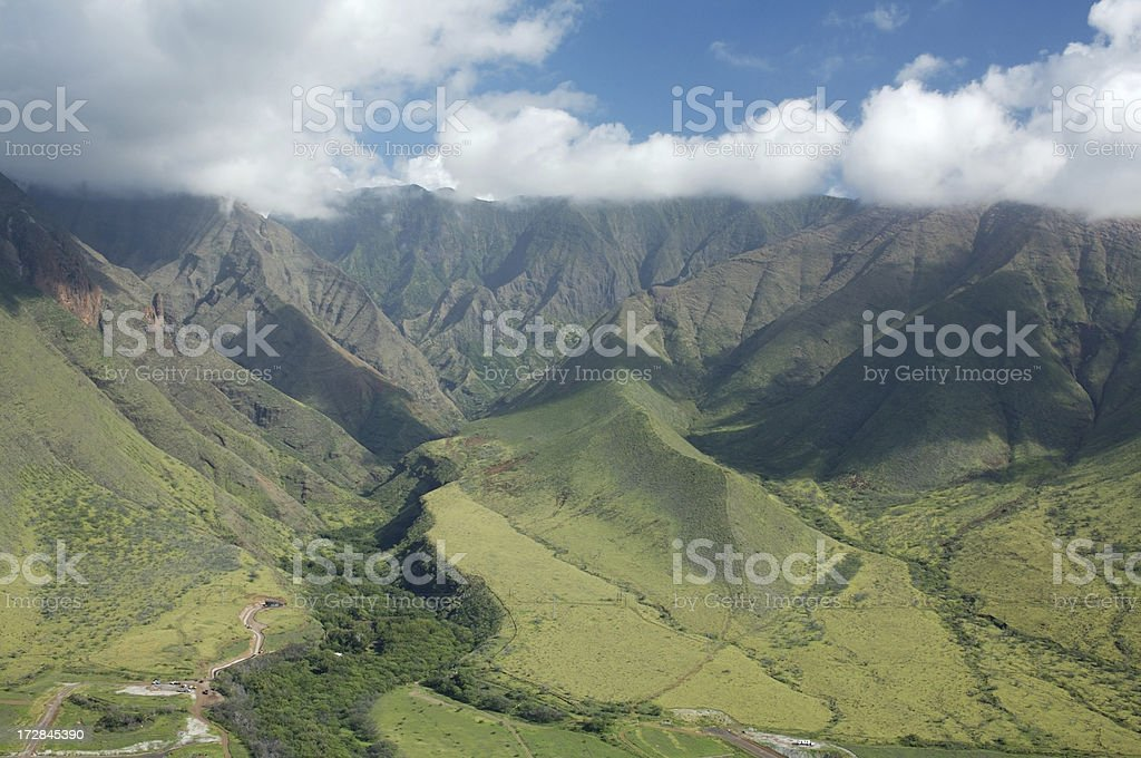 Aerial View of the West Maui Mountains- Olawalu royalty-free stock photo