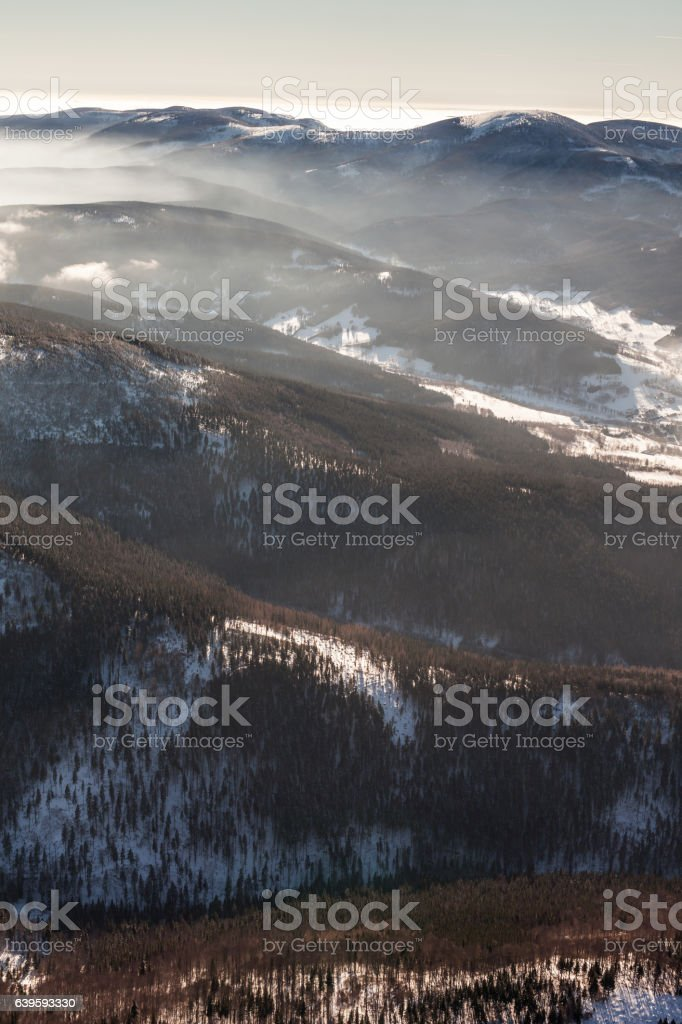 aerial view of the winter  time in  Poland stock photo