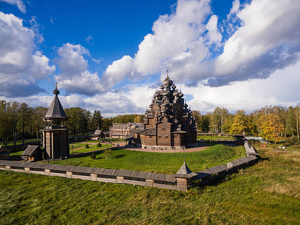 Aerial view of the wooden church in Russia Aerial view of the wooden church in Russia republic of karelia russia stock pictures, royalty-free photos & images