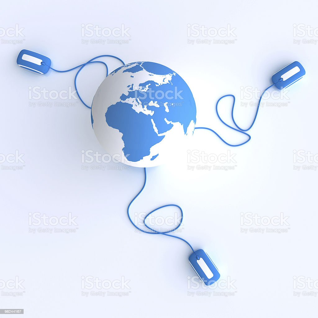 Aerial view of the World connected in blue royalty-free stock photo