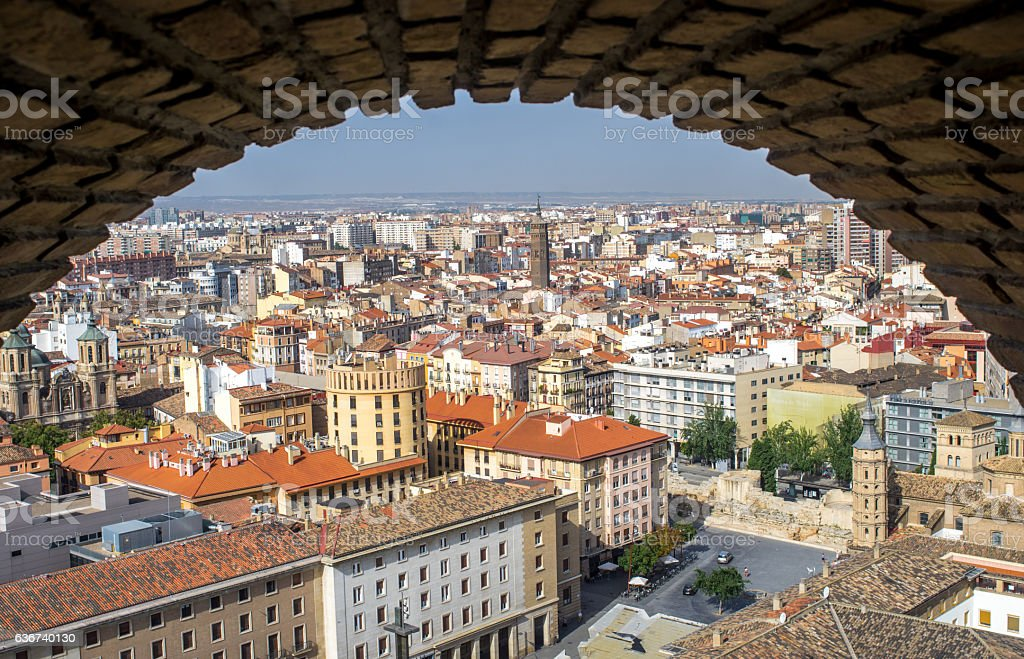 Aerial view of the Zaragoza city from the tower Cathedral stock photo