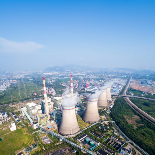 aerial view of thermal power plant - nuclear power station stock photos and pictures