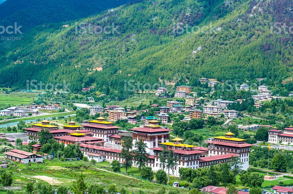 Aerial View of Thimphu Dzong stock photo