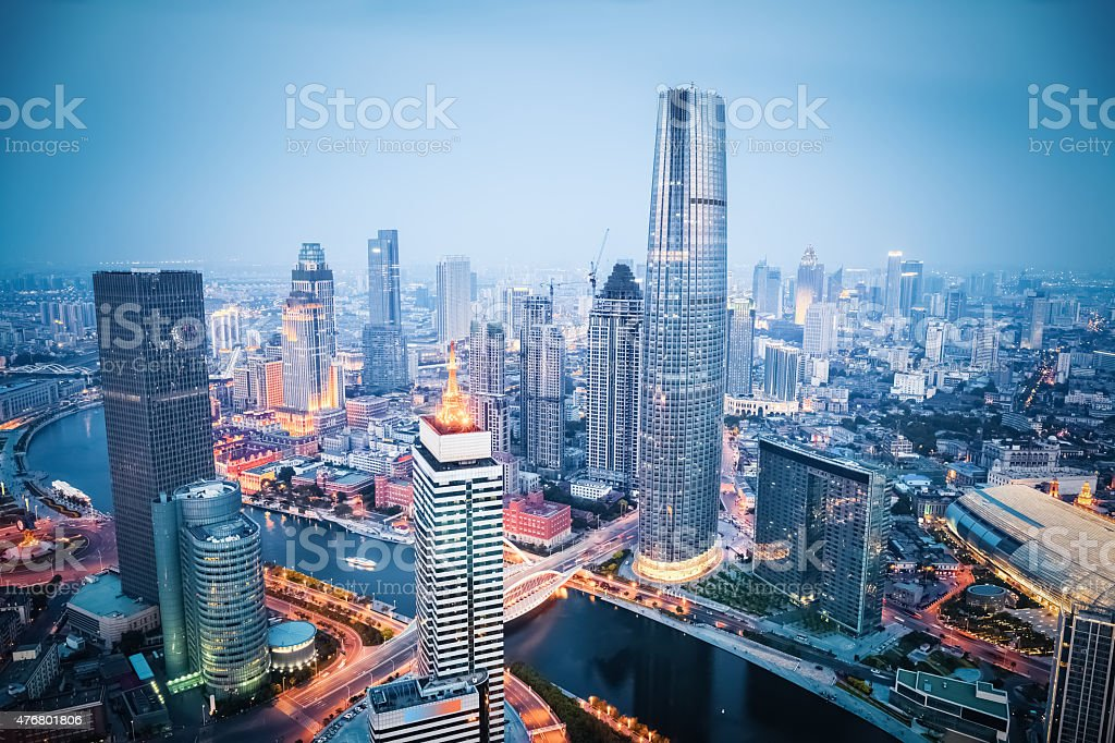 Luftbild von tianjin in der Dämmerung – Foto
