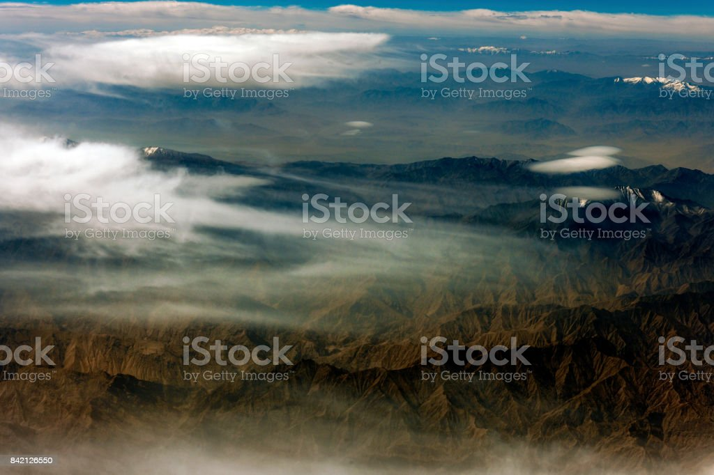 Aerial View of Tibet and Taklamakan Desert in China, Asia stock photo