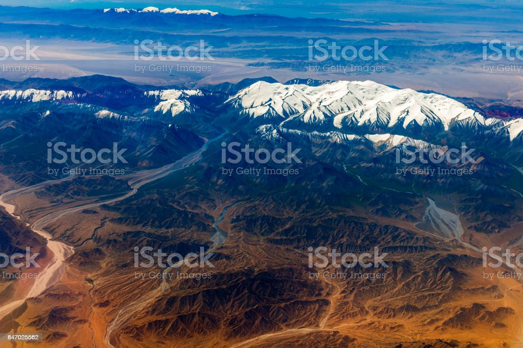 Aerial View Of Tibet And Taklamakan Desert In China Asia Stock Photo