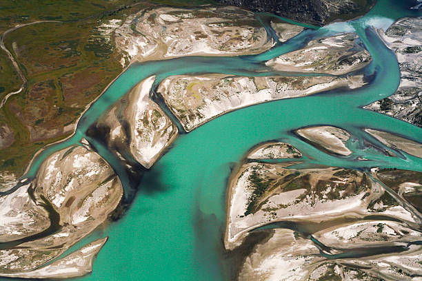 Aerial View of Tibet River stock photo