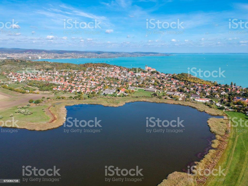 Aerial view of Tihany at lake Balaton stock photo