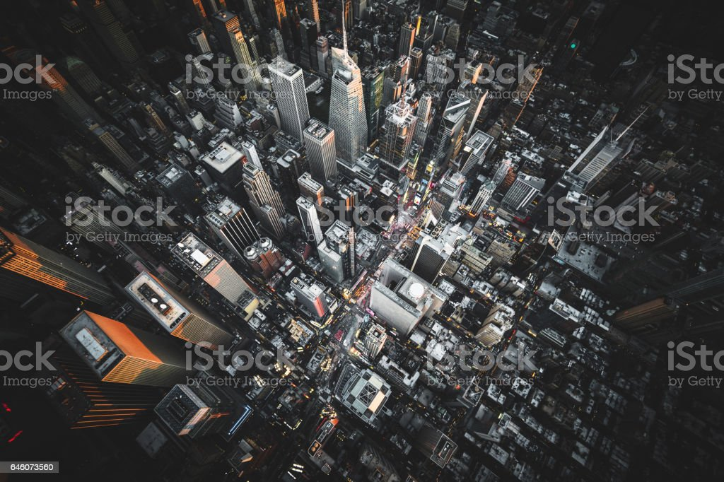 aerial view of times square at night stock photo