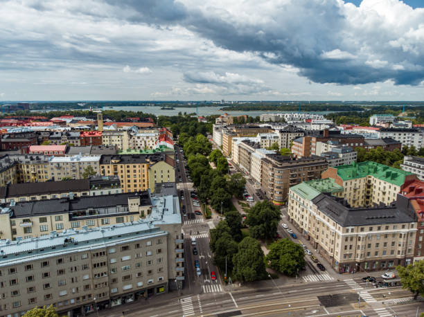 flygvy över tölö-kvarteret i helsingfors, finland - drone helsinki bildbanksfoton och bilder