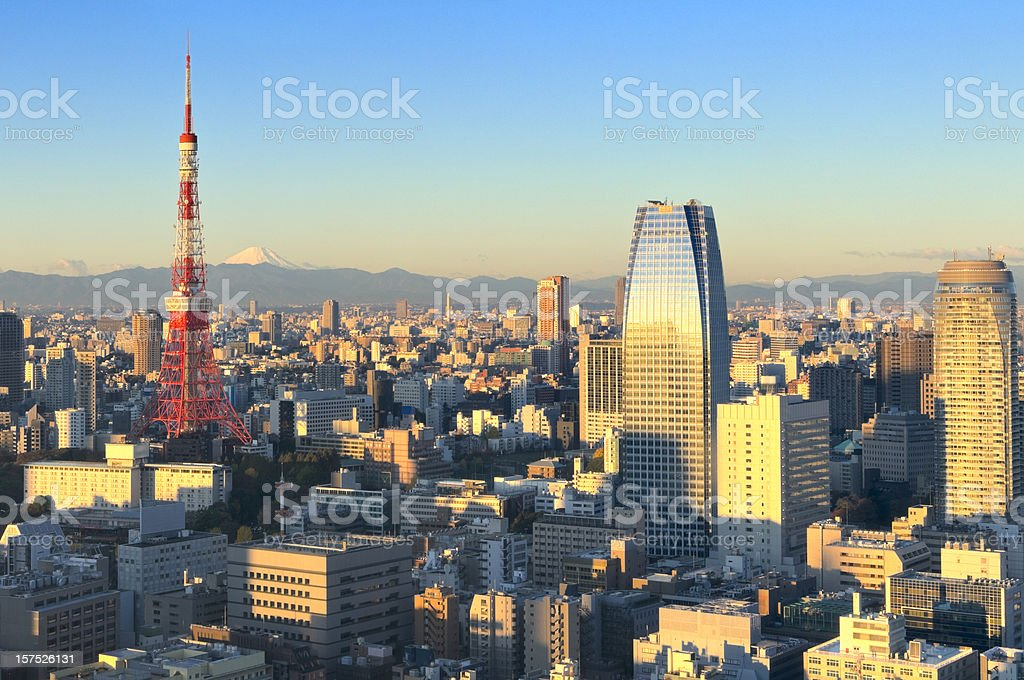 Aerial View of Tokyo and Mt. Fuji at Sunrise stock photo
