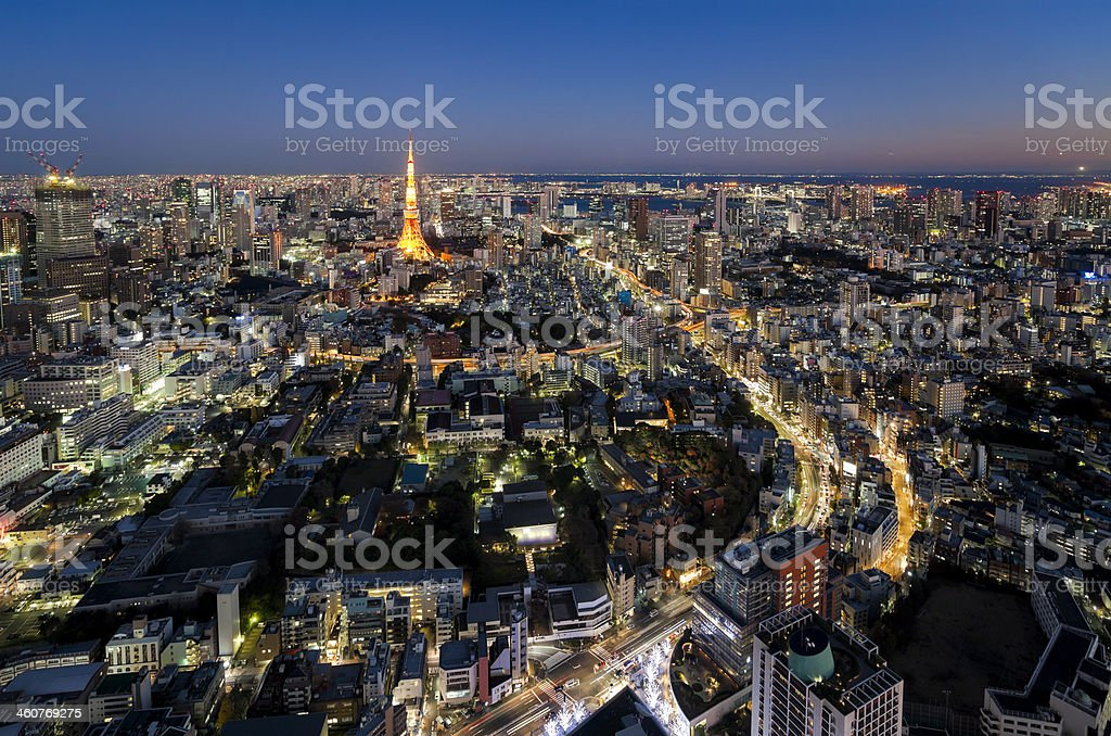Aerial View of Tokyo at Dusk royalty-free stock photo