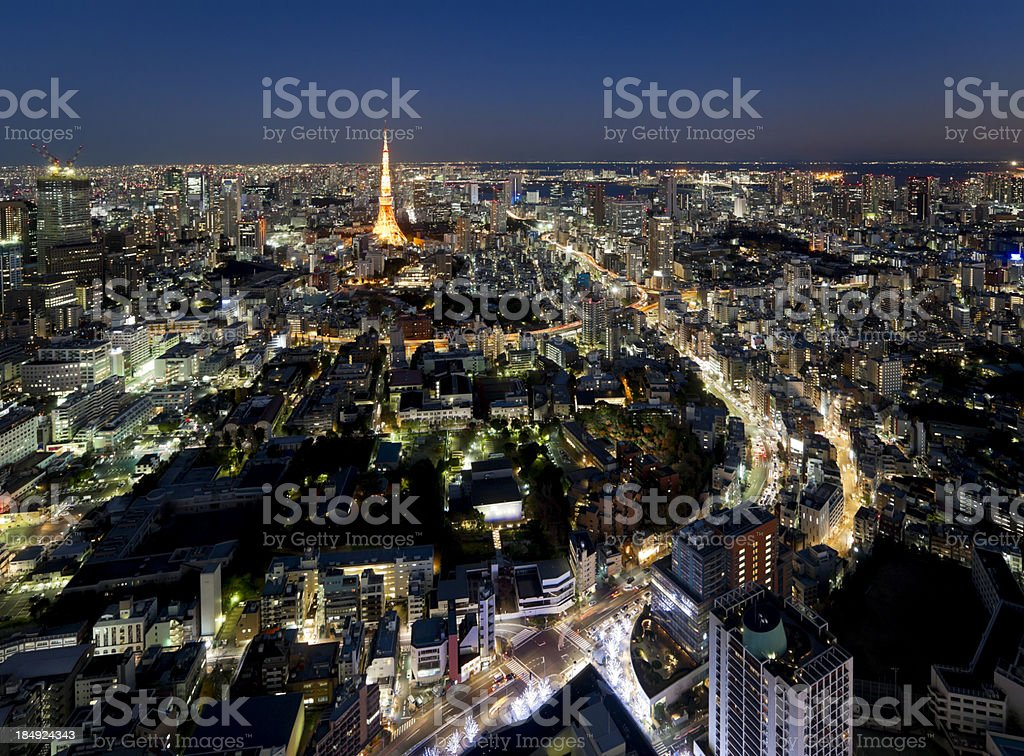 Aerial View of Tokyo at Twilight stock photo