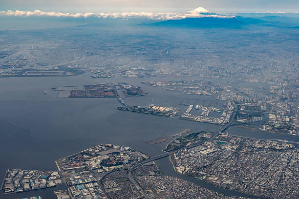 Aerial view of Tokyo Bay and Mount Fuji stock photo