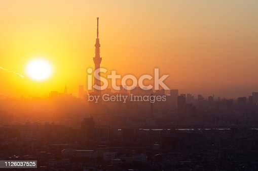 1131743616 istock photo Aerial view of Tokyo city and Skytree tower at dusk in Japan 1126037525