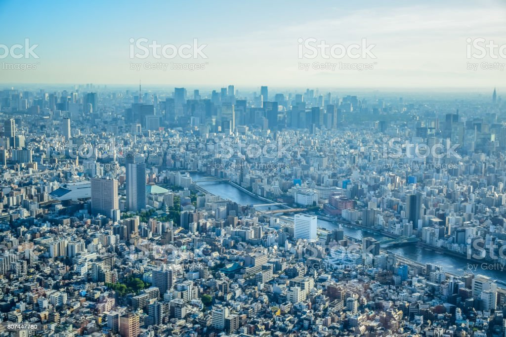 Aerial view of Tokyo city taken from top of Tokyo Skytree Tower stock photo
