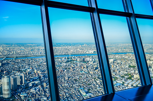 Aerial view of Tokyo city taken from top of Tokyo Skytree Tower