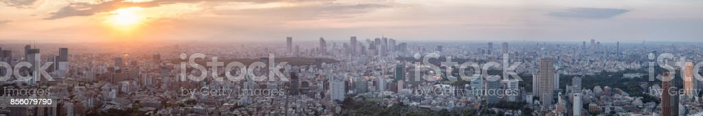 Aerial View of Tokyo Cityscape at Sunset, Japan stock photo