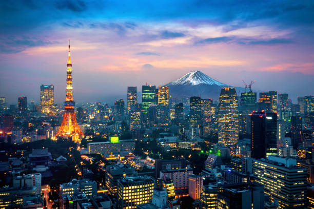 Aerial view of Tokyo cityscape with Fuji mountain in Japan. stock photo