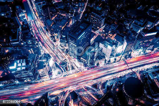 istock Aerial view of Tokyo Highway at Night 872289064