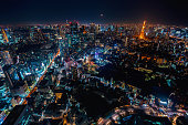Aerial view of Tokyo, Japan from Roppongi Hills at night