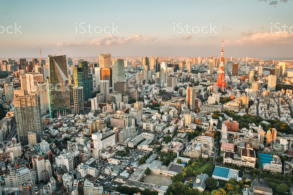 Aerial view of Tokyo stock photo