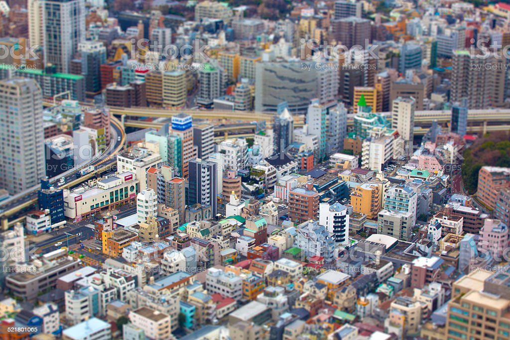 Aerial view of Tokyo skyline with tilt shift Aerial view of Tokyo Skyline from the Tokyo Tower, closeup on the city. Aerial View Stock Photo