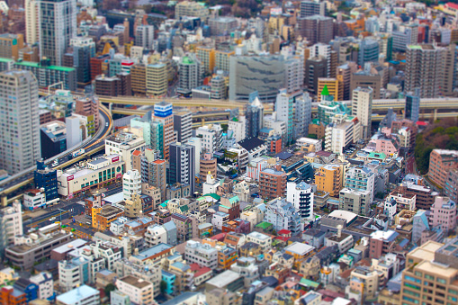 Aerial View Of Tokyo Skyline With Tilt Shift Stock Photo - Download Image Now