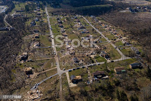 A drone image of a neighborhood in Nashville, TN that was severely impacted by a powerful tornadol