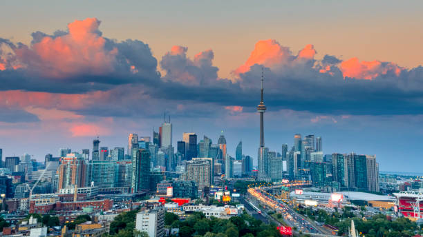 aerial view of toronto city from above - toronto stock pictures, royalty-free photos & images