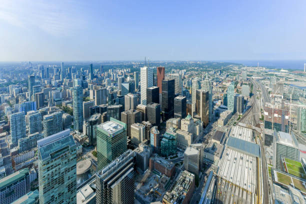 Aerial view of Toronto City Skyscrapers, Looking  toward East York and Scarborough districts in summer, Union Station at bottom right. Toronto City, Ontario, Canada