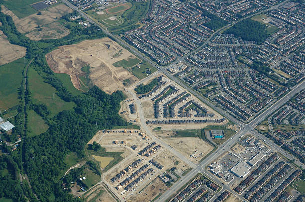 aerial view of toronto suburbs - urban sprawl stock photos and pictures