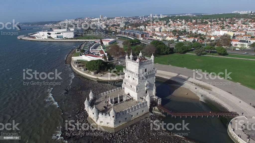 Aerial View of Torre de Belem, Lisbon , Portugal stock photo
