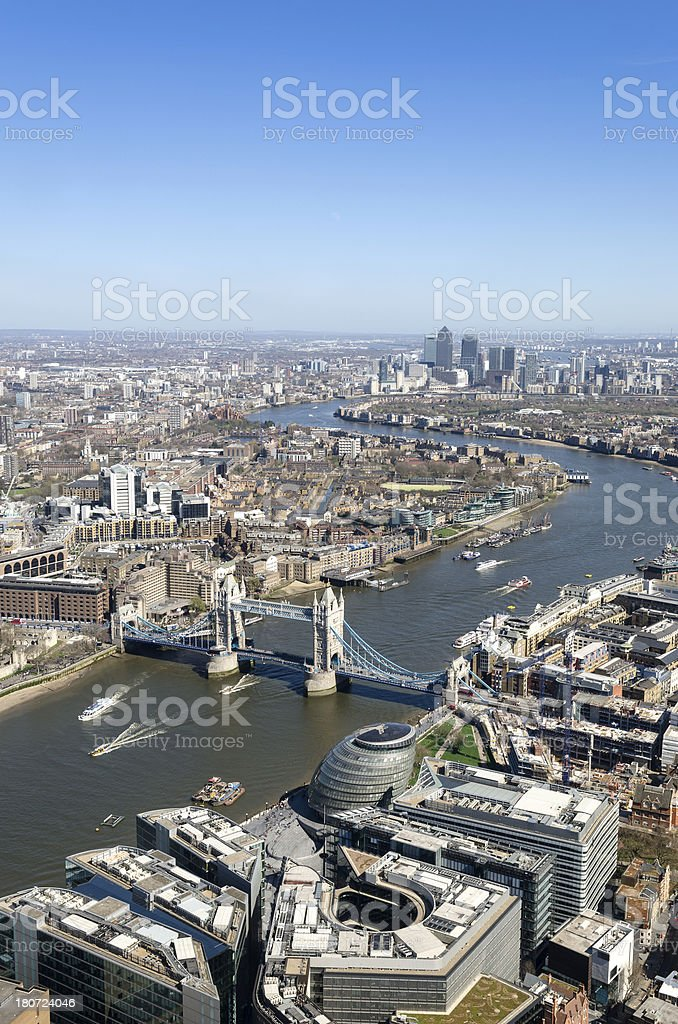 Aerial view of Tower Bridge, London royalty-free stock photo